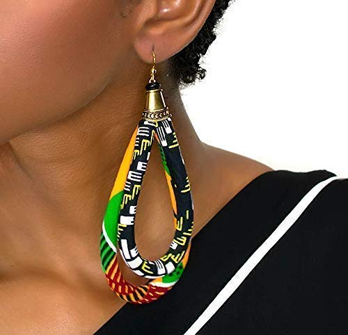 B01BL55MZU Double Loop Kente Ankara Earrings | African Earrings | Kente Earrings | Afro Earrings | Ankara Print Fabric | Africa hoop earrings | Afrocentric | Cloth & Cord 41Gnx3hV75L