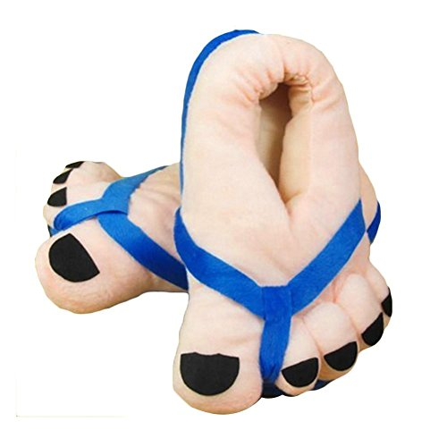 Eforstore Funny Winter Toe Big Feet Warm Soft Plush Slippers Novelty Gift Adult Shoes (Blue)