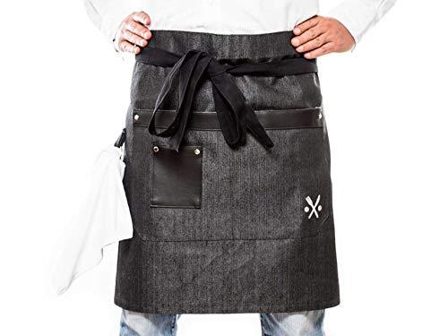 Denim apron for men and women, half waist black MASHO PS&P...