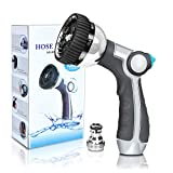 InGarden Garden Hose Nozzle, Metal Water Hose Nozzle Anti-Leak, Heavy Duty Spray Nozzle High Pressure with 8 Patterns, Thumb Control, Suitable for Watering Garden, Showering Pets and Washing Cars