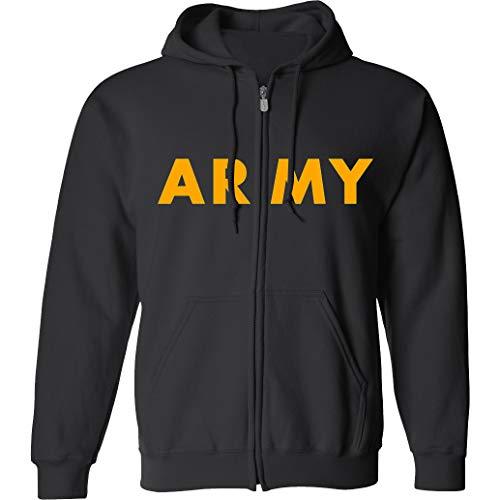Grey Physical Training Zipper Sweatshirt - ZeroGravitee Black Army Full-Zip Hooded Sweatshirt with Gold Print - X-Large