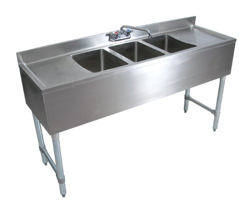 John Boos EUB3S60-2D Stainless Steel Underbar Sink, 3 Bowls, Left Hand and Right Hand Drain Boards, Splash Mount Faucet, 32.5'' Height x 21'' Width x 60'' Length by John Boos