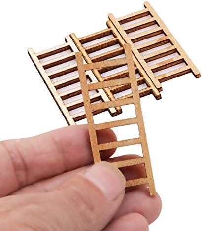 Kingus - Juego de 4 escaleras de madera en miniatura para decoración de casa o jardín: Amazon.es: Hogar