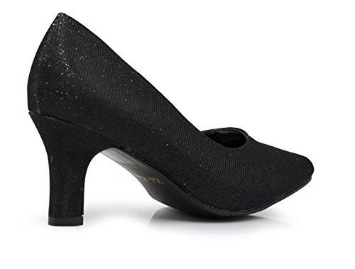 Enzo Romeo Cambria03 Femmes Largeur Large Paillettes Pointu Orteil À Talons Bas Pompes Pointues Sandales Chaussures Noir