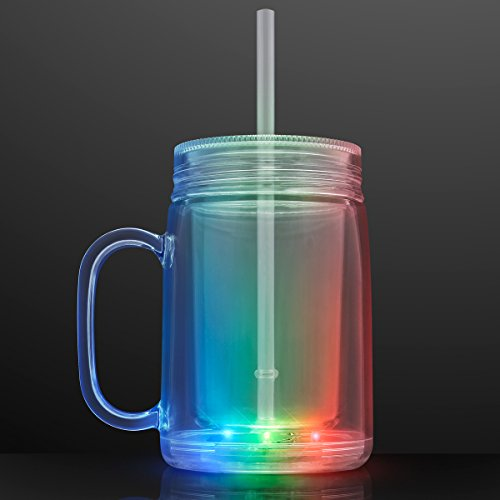 Multicolor LED Plastic Mason Jar Cups (Set of 12) by FlashingBlinkyLights