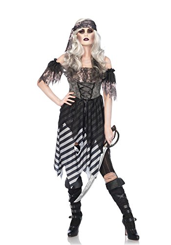 Leg Avenue Women's 3PC.Ghost Pirate, Grey/Black, MED/LGE