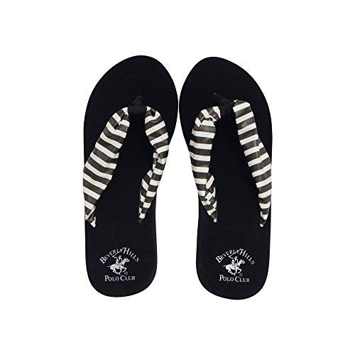 Beverly Hills Polo Club ROLA Women's Striped Platform Wedge Flip Flop Sandal Thong (8 US, Black & White)