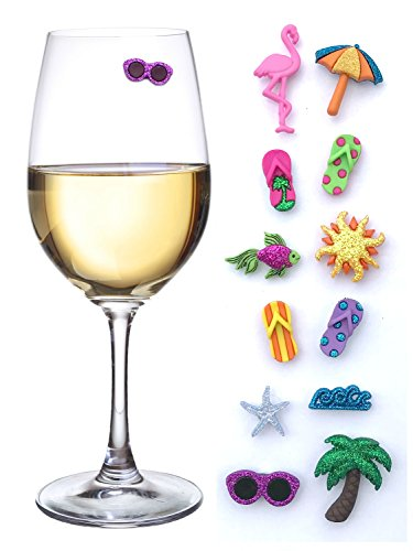 Summer Beach & Sea Nautical Magnetic Wine Glass Charms or Cocktail Markers for Making Your Drink Unique – Set of 12 Summer (Beach Theme Wine)