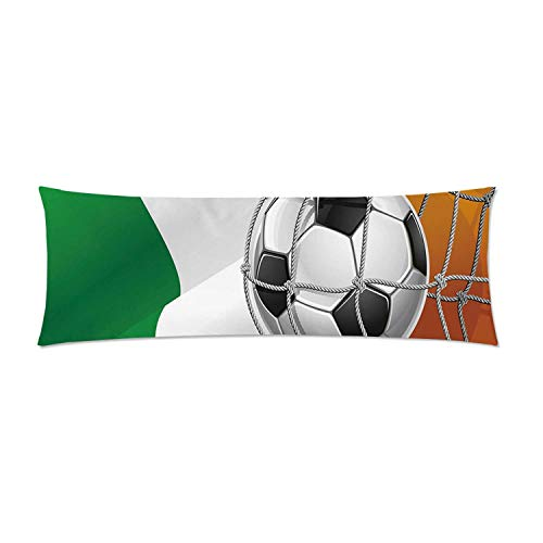 C COABALLA Irish Comfortable Rectangular Pillowcase,Sports Theme Soccer Ball in a Net Game Goal with Ireland National Flag Victory Win for Home,Double Side Print 26