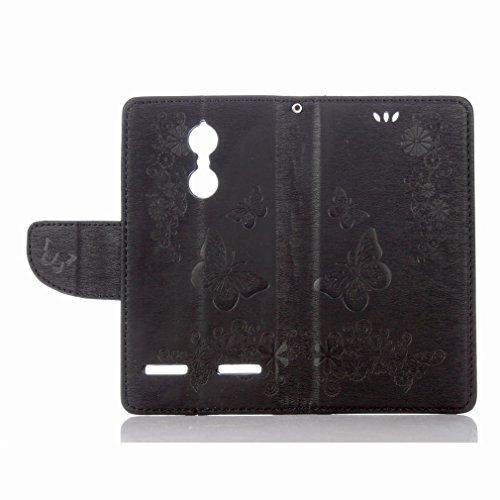 Yiizy Lenovo K6 Custodia Cover, Farfalla Fiore Design Sottile Flip Portafoglio PU Pelle Cuoio Copertura Shell Case Slot Schede Cavalletto Stile Libro Bumper Protettivo Borsa (Nero)