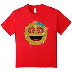 Kids Valentine's Day Emoji Face T-Shirt for Kids and Women 8 Red