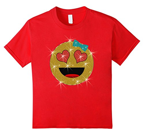 Glitter Heart Eyes Emoji Costume Girls Tee Shirt Size 4