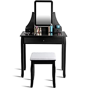 Giantex Bathroom Vanity Dressing Table Set 360 Rotate Mirror Pine Wood Legs Padded Stool Dressing Table Girls Make Up Vanity Set w/Stool (Rectangle Mirror 3 Drawers)