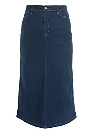 Ladies Women's Indigo Stretch Denim Maxi Skirt Sizes 10 To 28 ...