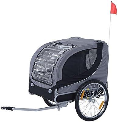 Pawhut – Remolque para Bicicletas para Perros Perros Remolque de Bicicleta Gris: Amazon.es: Productos para mascotas