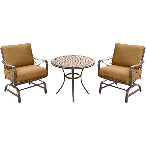 Hanover SUMRNGTDN3PCCSTAL Summer Nights Chat Set with 2 Cushioned Rockers and A 32″ Cast-Top Table (3 Piece) (Pack of 3), Tan For Sale