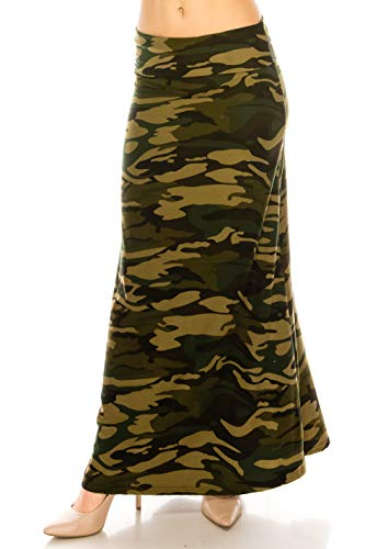 EEVEE Printed Foldover Waistband Fashionable Maxi Skirt Dress (Camouflage, One Size) ()