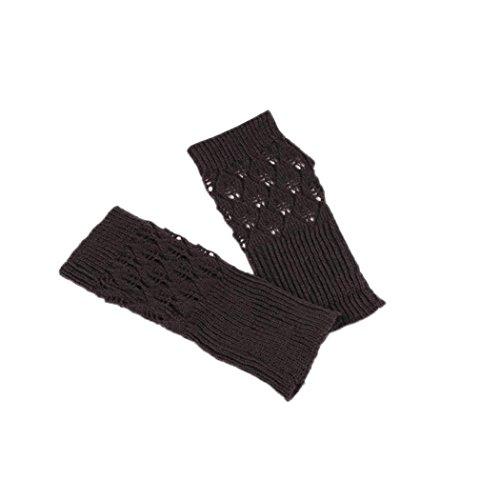 Veenajo Women's Hand Crochet Winter Warm Fingerless Arm Warmers Gloves (Brown)