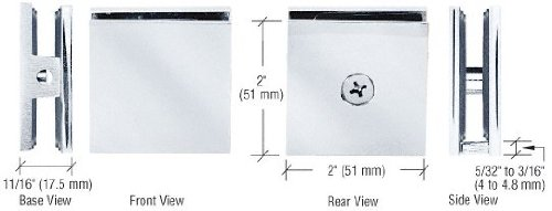 SCU4CH - CRL Chrome Square Style Hole-in-Glass Fixed Panel - Fixed Glasses