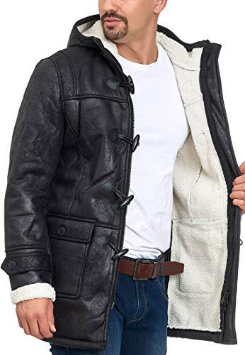 Indicode Homme Calshot Duffle Coat À L'Aspect Daim avec Capuche Doublée | Chaud Manteau D'Hiver avec Doublure Teddy…