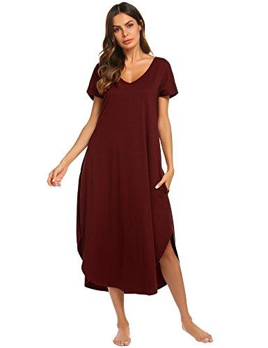 Ekouaer Plus Size Nightshirt Women's Short Sleeve Sleep Gown Soft Long Nighty Dress (Wine Red,XXL) by Ekouaer (Image #2)