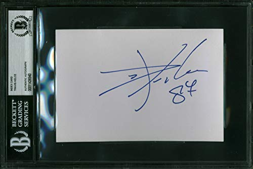 (Chiefs Travis Kelce Authentic Signed 4x6 Index Card Autographed BAS Slabbed)