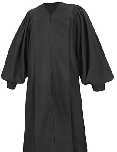 Pulpit Robe - Clergy Robe Pulpit Deluxe Preacher Robe Black (5'1