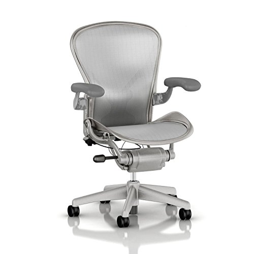 [Herman Miller Aeron Task Chair: Highly Adjustable w/PostureFit Lumbar Support - Fully Adjustable Vinyl Arms - Tilt Limiter - Size C - Hard Floor Casters - Titanium Frame/Zinc Classic Pellicle] (Herman Miller Mesh Chair)