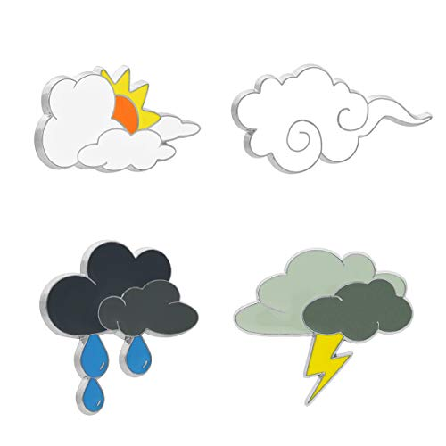 Lefancy 4 Pcs Cute Pins Weather Cloud Cartoon Badge Brooch Sets Enamel Pin (Mood Cloud Series)