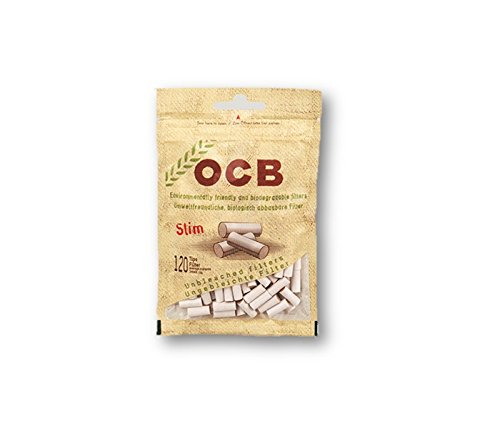 OCB Organic Hemp Biodegradable Filter Tips Slim Rolling Papers Filters Cigarette Papers Filters Smoking Papers Filters Pack of 20 Bags from Sudesh Enterprises