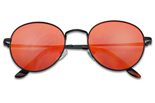 SunglassUP - Colorful Classic Vintage Round Flat Lens Lennon Style Sunglasses (Black Frame | Fire Red, - Mens Lens Red Sunglasses