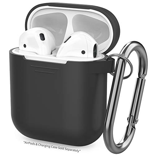 AhaStyle Silicone Case Protective Cover Skin Compatible with Apple AirPods 2 & 1 [Front LED Not Visible]- Black ()