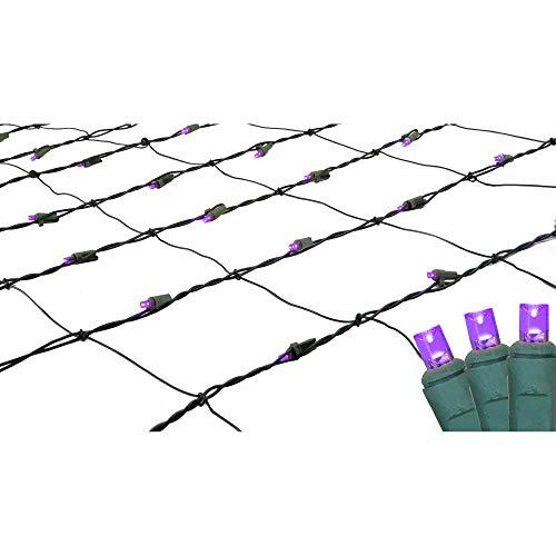 4 x 6 Purple LED Wide Angle Christmas Net Lights - Green Wire