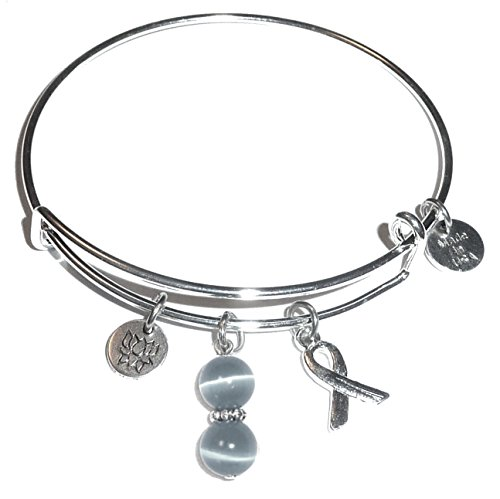 Cancer Awareness Bracelet (Cancer Awareness (Hope for the Cure) Expandable Wire Bangle Bracelet, Comes in a GIFT BOX! (Brain Cancer (Grey)))