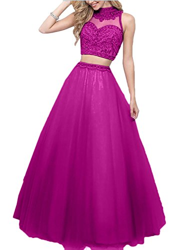 Charmant Prinzess Damen linie Perlen Rock A Abendkleider Zwei Blau Partykleider Abschlussballkleider Pink teilig HHqFOrw