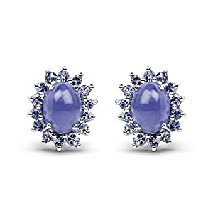 4.24 Carat Genuine Tanzanite .925 Sterling Silver Earrings
