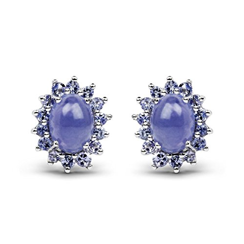 4.24 Carat Genuine Tanzanite .925 Sterling Silver Earrings