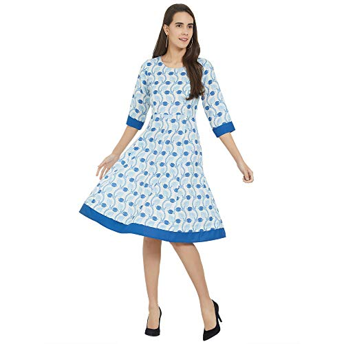 Fusion Beats Women Viscose Off White Printed Dress with 3/4Th Sleeves