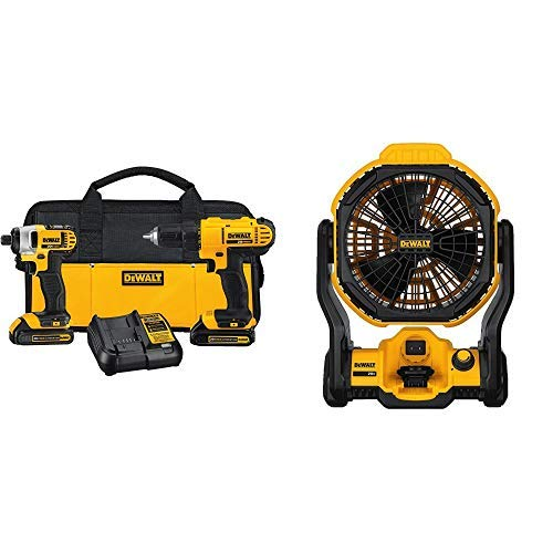 """DEWALT DCK240C2 20v Lithium Drill Driver/Impact Combo Kit (1.3Ah) with 11"""" Corded/Cordless Jobsite Fan (Tool Only)"""
