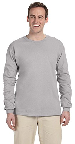 (Fruit of the Loom Adult 5 oz. Long-Sleeve T-Shirt, Silver, XL)