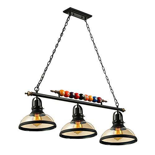 (Industrial Vintage Chandelier-LITFAD 3 Lights Island Light Edison Metal Pendant Lamp Fixture with Clear Glass Shade Special Billiard Ball Decoration in Black Finish,UL)