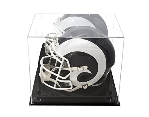 Deluxe Acrylic Football Helmet Display Case Black Risers Mirror (A002-BR)