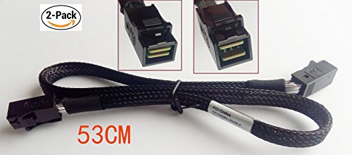 (2 Pack) Internal Mini SAS SFF-8643 to Mini SAS SFF-8643 Mini SAS Cable, 1.7 FT/53 CM by Cable Plus