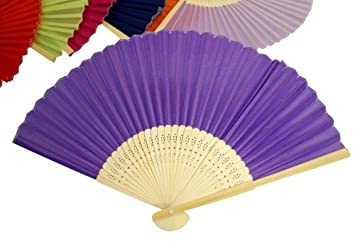 balsacircle 50 pcs decorative silk fabric folding hand fans wedding favors purple - Decorative Fans