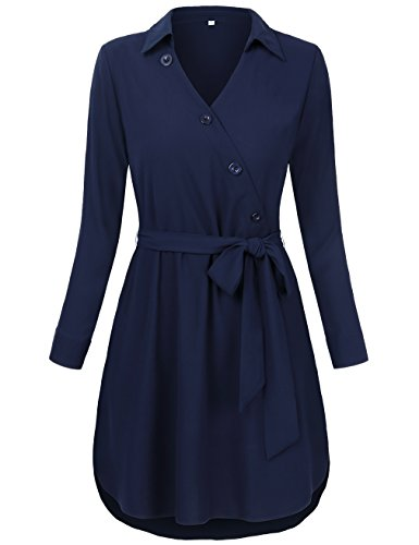 HNNATTA Fashion Career Women Lapel Neck Blouse Button Decor Tunic Shirt With Belt