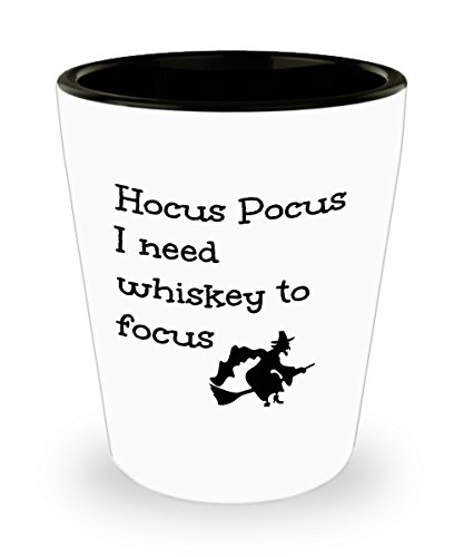 Funny Whiskey Lover Gift Shot Glas Hocus Pocus I Need to Focus Cute Magic Halloween Witch Themed Mini Cup Gag Joke for Men Women 1.5 oz (Magic Pocus Hocus)