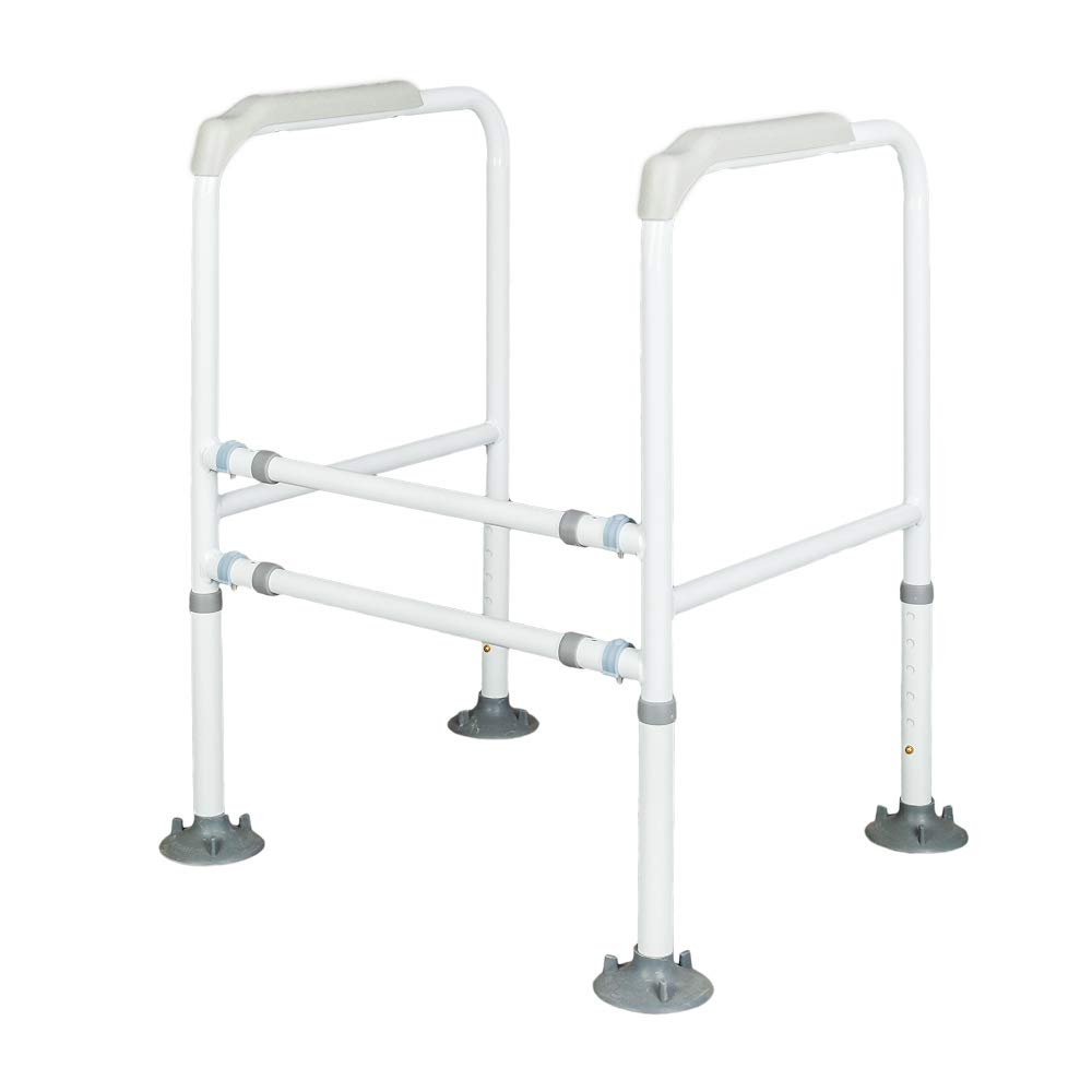 Mefeir Stand Alone Toilet Safety Grab Rail with 6 Height Adjustable Gears, Assistance for The Elderly and Handicapped, Anti-Slip Design, 450lbs Weight Capacity