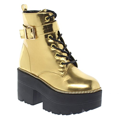 a3863a65ca1 Shoe Republic LA Metallic Reflective Chunky Platform Boots Harrison ...