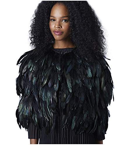L'VOW Fashion Black Feather Vest Waistcoat Clothes Shawl Iridescent Halloween Costumes(X- Black)