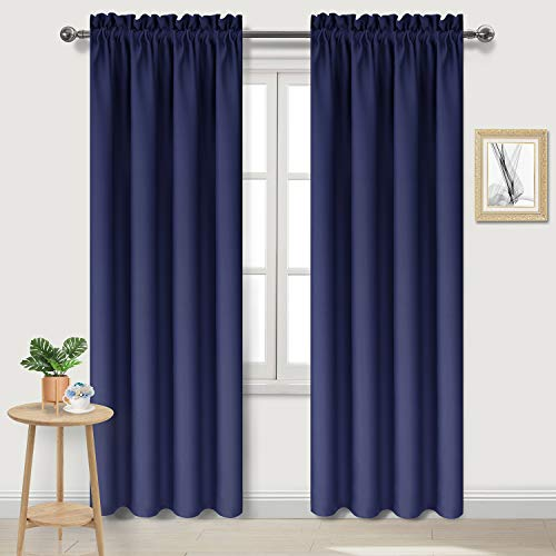DWCN Blackout Curtains Room Darkening Thermal Insulated Living Room Curtains Navy Blue Bedroom Curtain Panel, Set of 2 Rod Pocket Drapes, 42 x 84 inches ()